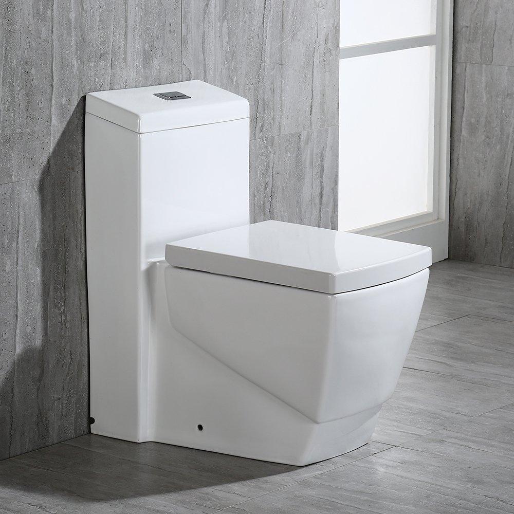 WoodBridge T-0020 Dual Flush Elongated One Piece Toilet with Soft ...
