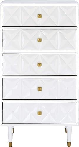 Linon White Five Drawer Geo Dresser Sheerah Chest - a good cheap bedroom dresser