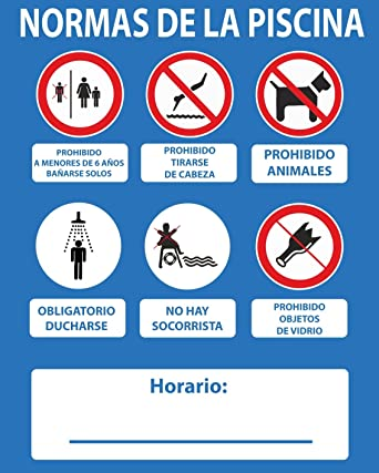 Normaluz RD2A067 - Cartel Normas De Piscina Sin Socorrista PVC Glasspack 0,4mm 50x40 cm