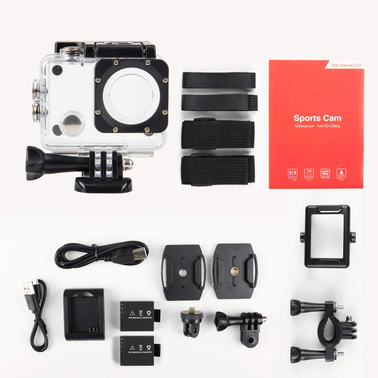Mounting Accessories Kit 170/° Wide Angle Underwater Camcorder with 2 Batteries Piwoka Sports Action Camera 1080P Ultra HD 12MP Portable Waterproof Camera Battery Charger