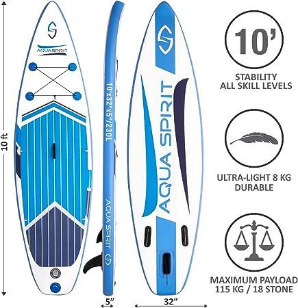 AQUA SPIRIT 300x80x12.5cm ISUP Tabla Hinchable de Paddle Surf Sup ...