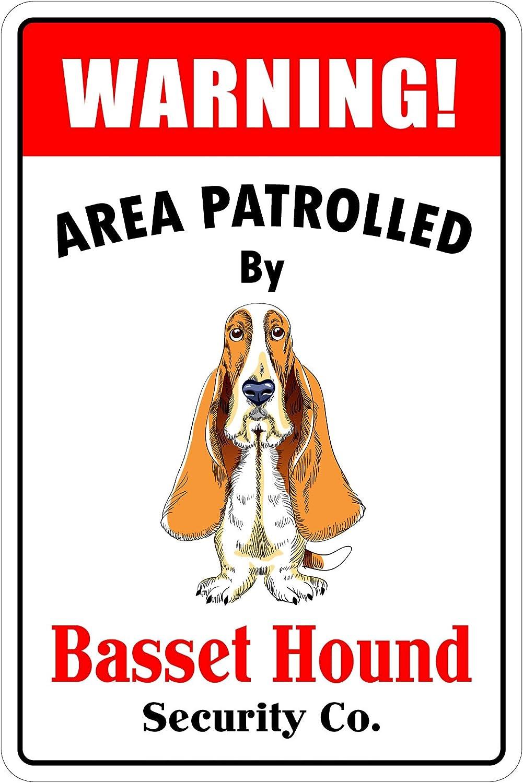"StickerPirate Warning Area Patrolled by Basset Hound 8""X12"" Novelty Dog Sign"