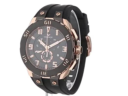 Amazon.com: Viceroy Mens 47677-95 Falonso Rose Gold Ion-Plated Stainless Steel Black Rubber Strap Chronograph Date Watch: Watches