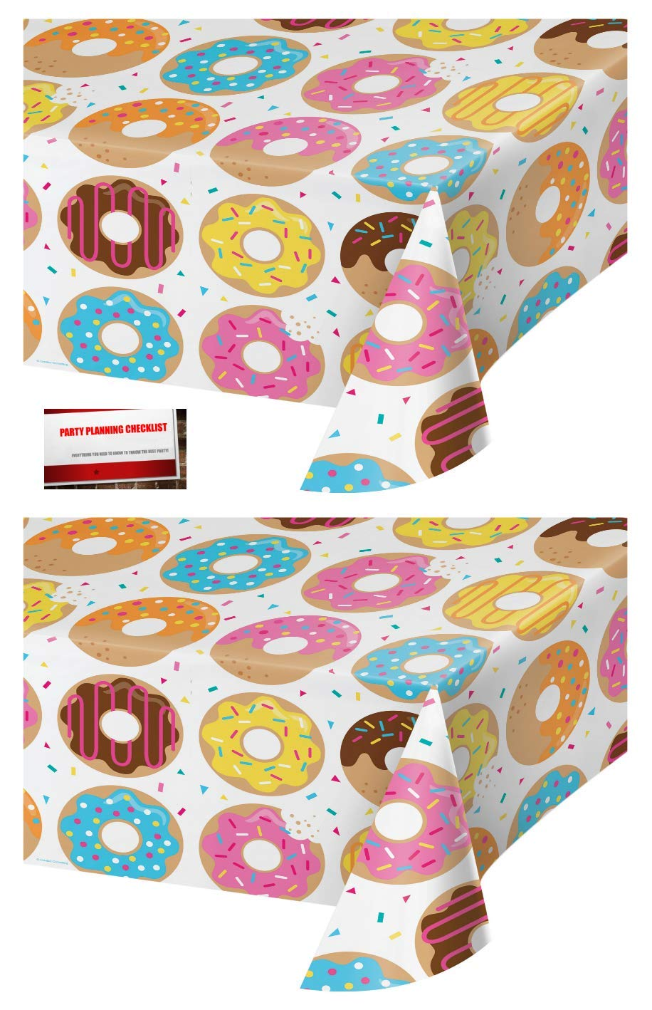 (2 Pack) Donut Dessert Party Plastic Table Cover 54 x 102 Inches (Plus Party Planning Checklist by Mikes Super Store)
