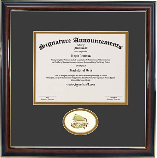 Signature Announcements Shaw-University Undergraduate Professional//Doctor Sculpted Foil Seal Graduation Diploma Frame 16 x 16 Matte Mahogany
