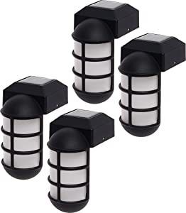 GreenLighting 4 Pack Marina Solar Post Cap Lights - Metal Side Mount Dock Light for 4x4 Wood Posts
