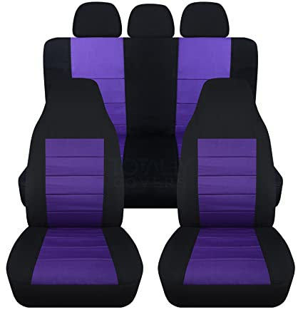 2 Tone Car Seat Covers W 3 Rear Headrest Black And Purple