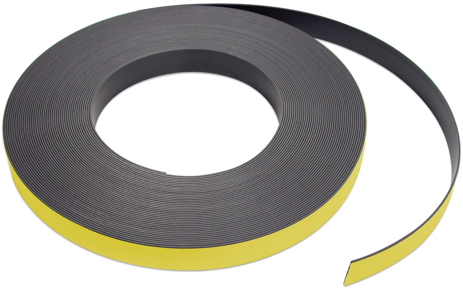 Flexible Magnet Strip with Yellow Vinyl Coating, 1/32'' Thick, 2'' Height, 50 Feet, 1 Roll