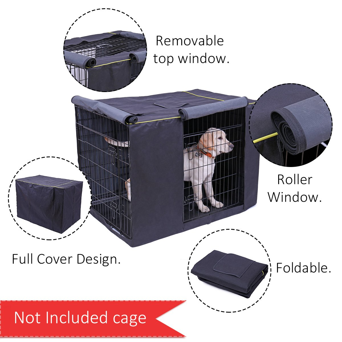 Speedy Pet Waterproof Dog Kennel Covers Durable Windproof Dust-Proof Crate Cover Indoor/Outdoor for Dog Cage Black (2XL(47.6'' x 30.3'' x 32.3''), Black) by Speedy Pet (Image #2)