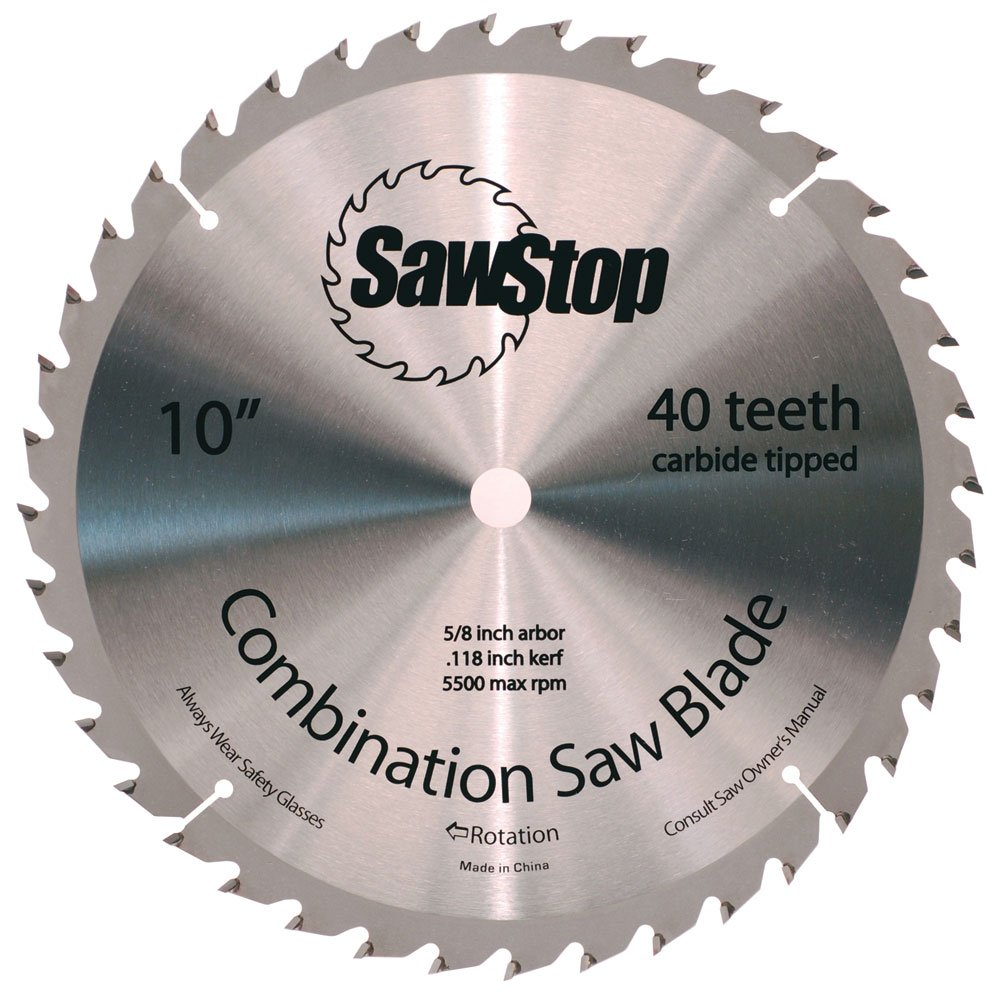 "SawStop CNS-07-148 40-Tooth Combination Table Saw Blade, 10"" with 5/8"" Arbor"