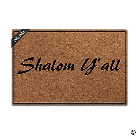 MsMr Doormat Entrance Floor Mat Shalom Yu0027All Door Mat Home And Office  Decorative Indoor