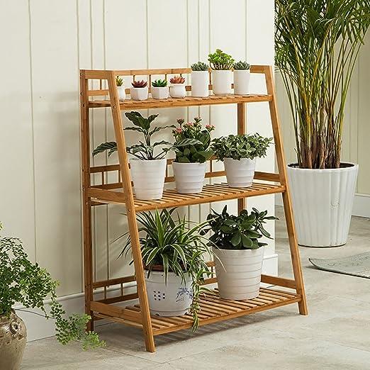GSPHJ - Estantes de Madera de bambú para balcón, macetas, estantes ...