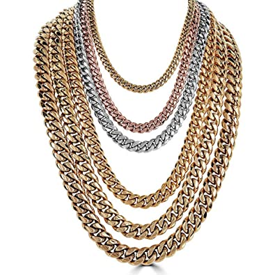 73a19df886ed9 Harlembling Men's Miami Cuban Link Chain 14k 18k Yellow Gold White Or Rose  Gold Plated Stainless Steel 8-18mm Thick