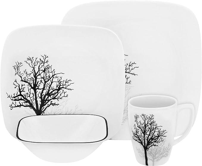 Juego de vajilla de 16 Piezas CORELLE Color Blanco Servicio para 4 Personas de Vidrio Vitrelle Resistente a Las roturas y Las desportilladuras Modelo Dazzling