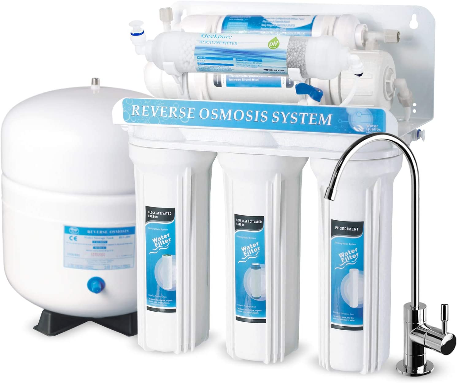 6-Stage Reverse Osmosis Drinking Water Filter System with Alkaline Filter-All Filters is Universal Compatible-75GPD