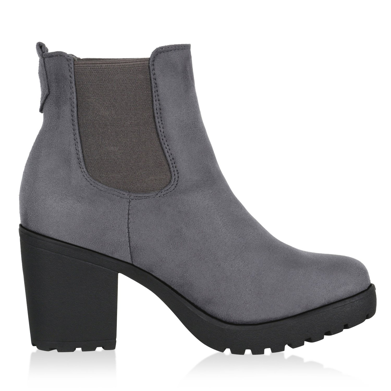 Best-Stiefel Damen Plateau Stiefelette Grau Chelsea Stiefel Grau Grau Stiefelette Nuovo 5d8144