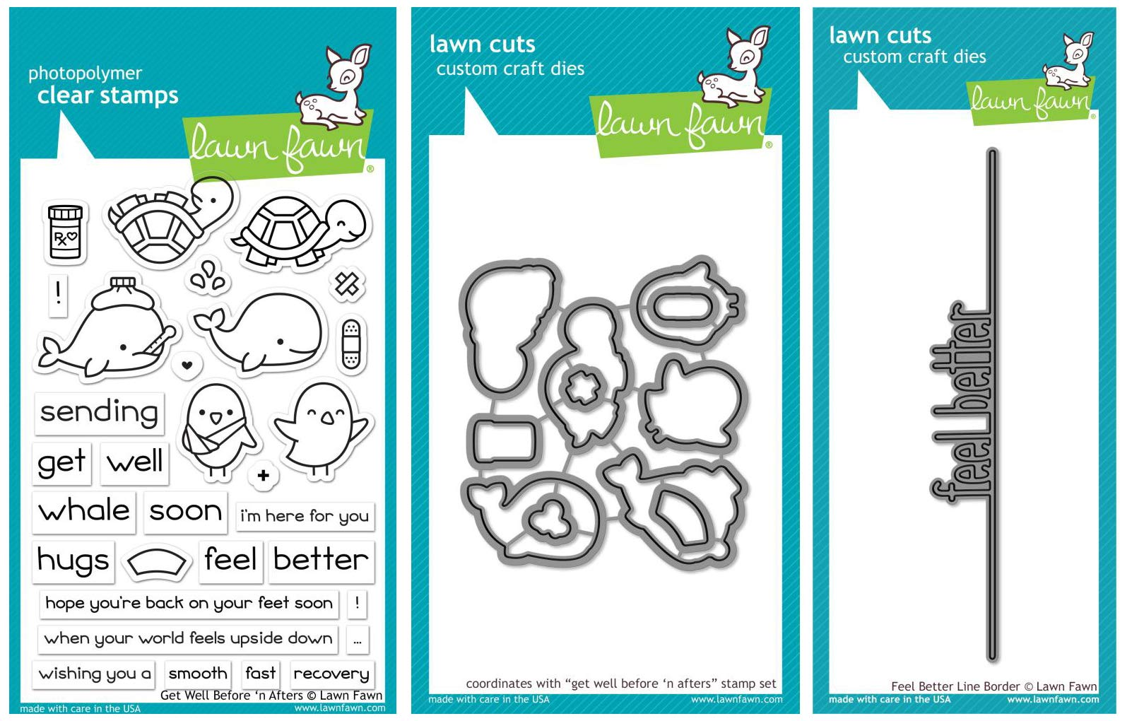 Lawn Fawn - Get Well Bundle - Get Well Before 'n After Clear Stamp and Die Sets with Feel Better Line Border Die - 3 Items