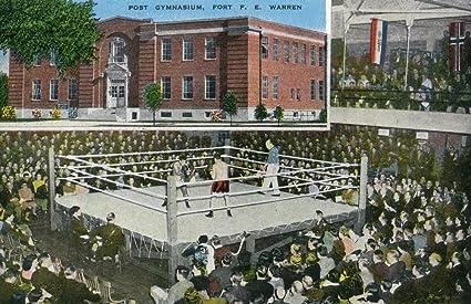 Cheyenne, Wyoming - Fort F. E. Warren Post Gymnasium View, Boxing Match Scene (12x18