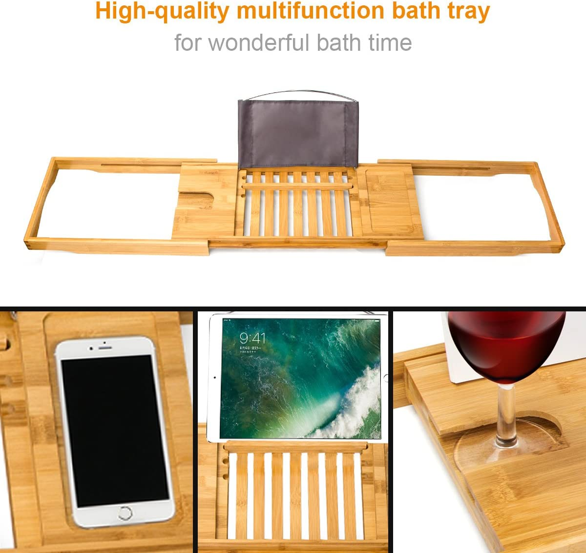 Lunghezza Allungabile da 70 a 104cm Mensola Vasca da Bagno in Bamb/ù Smartphone e Vino Witasm Ripiano Vasca da Bagno Supporto Libri Tablet