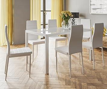 HOGAR24 ES Conjunto Mesa 140 x 80 x 75cm + 6 Sillas. Color Blanco. Salon,  Comedor, Cocina