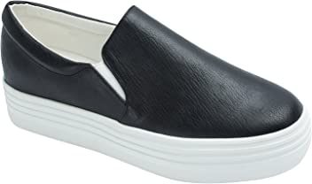 9f90185a03 Sweet Holic Womens Solid Faux Leather Platform Slip On Sneaker