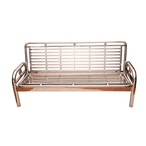 Lakdi Folding Metal Sofa Cum Bed with Wooden Arms Steel Arms Office Home Reception MFN(134119_130)