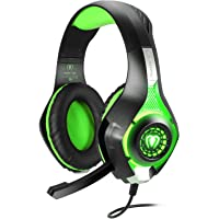 BlueFire Stereo Gaming Headset for PlayStation 4 PS4, Over-Ear Headphones With Mic and LED Lights for Xbox One, PC, Laptop (Green)