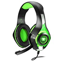 BlueFire Gaming Headset for PS4 Xbox One, Upgraded 3.5mm Wired Bass Stereo with Mic LED Light for PS4/Xbox One S/Xbox One/Nintendo Switch/PC/Computer/Phones (Green in Black)