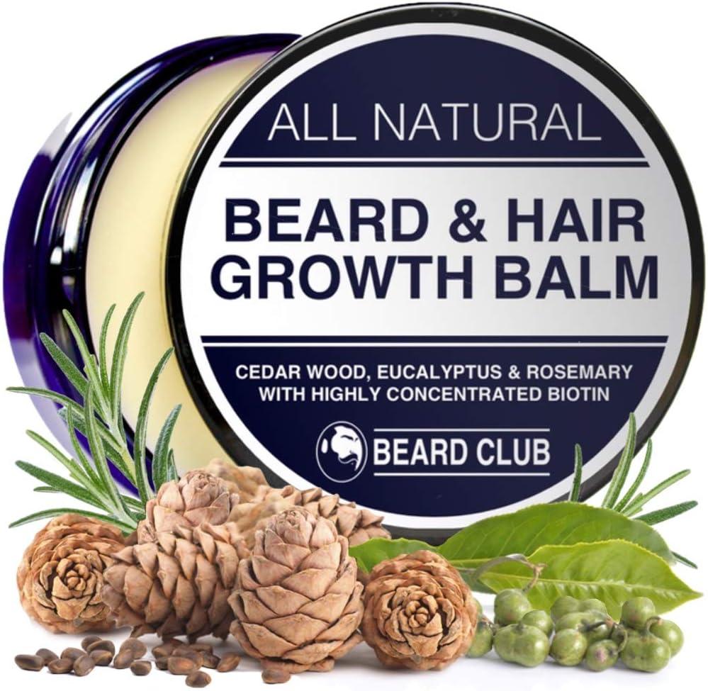 Bálsamo para el Crecimiento de la Barba y del Pelo | 30ml | Con Una Alta Concentración de Biotina | Olor a Madera de Cedro, Eucalipto y Romero | La Mejor Solución para una Barba Desigual