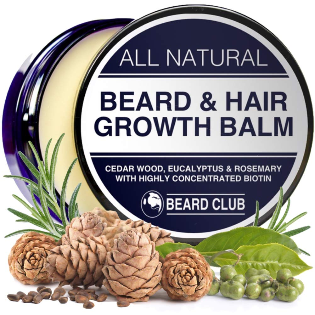 All Natural Beard Balm for Beard & Hair Growth | with Biotin, Cedar Wood, Eucalyptus & Rosemary Oil | Beard Conditioner & Softener, Increase Growth, Reduce Patches, Style & Stop Itch & Flakes
