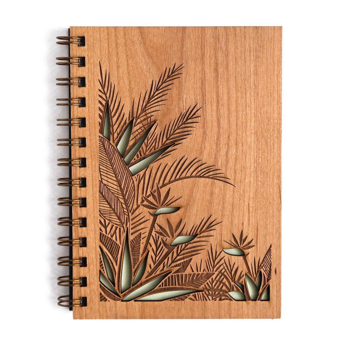 Birds of Paradise Laser Cut Wood Journal (Notebook/Birthday Gift/Gratitude Journal/Handmade)