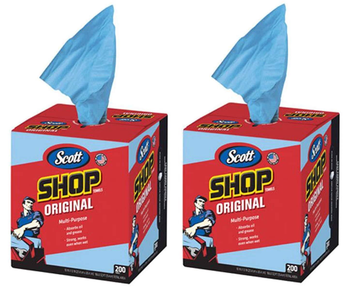 Scott USDEMTCB Kimberly-Clark 75190 Shop Towels, 10'' x 12'', Blue, 2 Box of 200 Towels