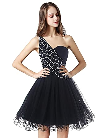 c4c0c5ff529d Belle House One Shoulder Prom Dress 2018 Homecoming Dresses Short for  Juniors A Line Party Dress at Amazon Women's Clothing store: