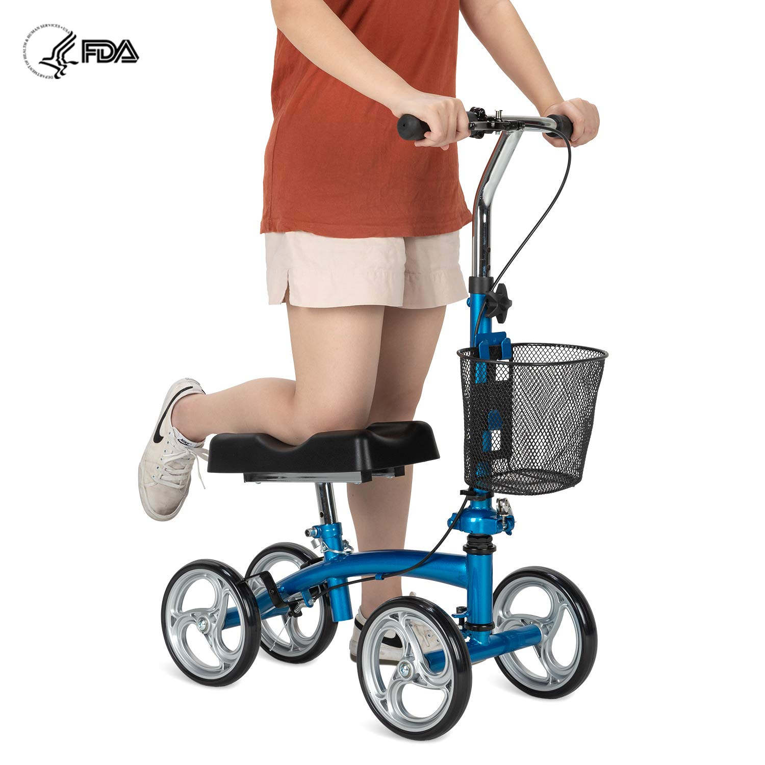 OasisSpace Small Size Foldable Knee Scooter Walker for Foot Injuries Ankles Surgery (Blue) by OasisSpace