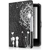 kwmobile Hülle für Tolino Vision 1 / 2 / 3 / 4 HD - Flipcover Case eReader Schutzhülle - Bookstyle Klapphülle Pusteblume Love Design Weiß Schwarz