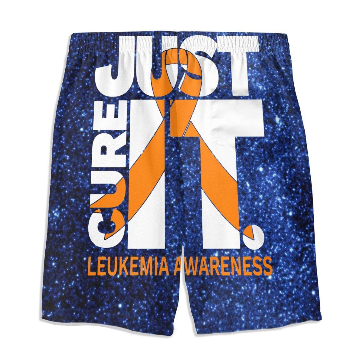 OPQRSTQ-O Just Cure Leukemia Awareness Teen Mens Sports Casual Swimming Shorts Beach Pants