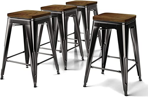 VIPEK Metal Bar Stool Counter Height Barstools with Solid Wood Seat Set of 4 Backless Stackable 24 inch High Dining Chair Patio Bar Chair Bistro Cafe Home Kitchen Island, Gloss Black