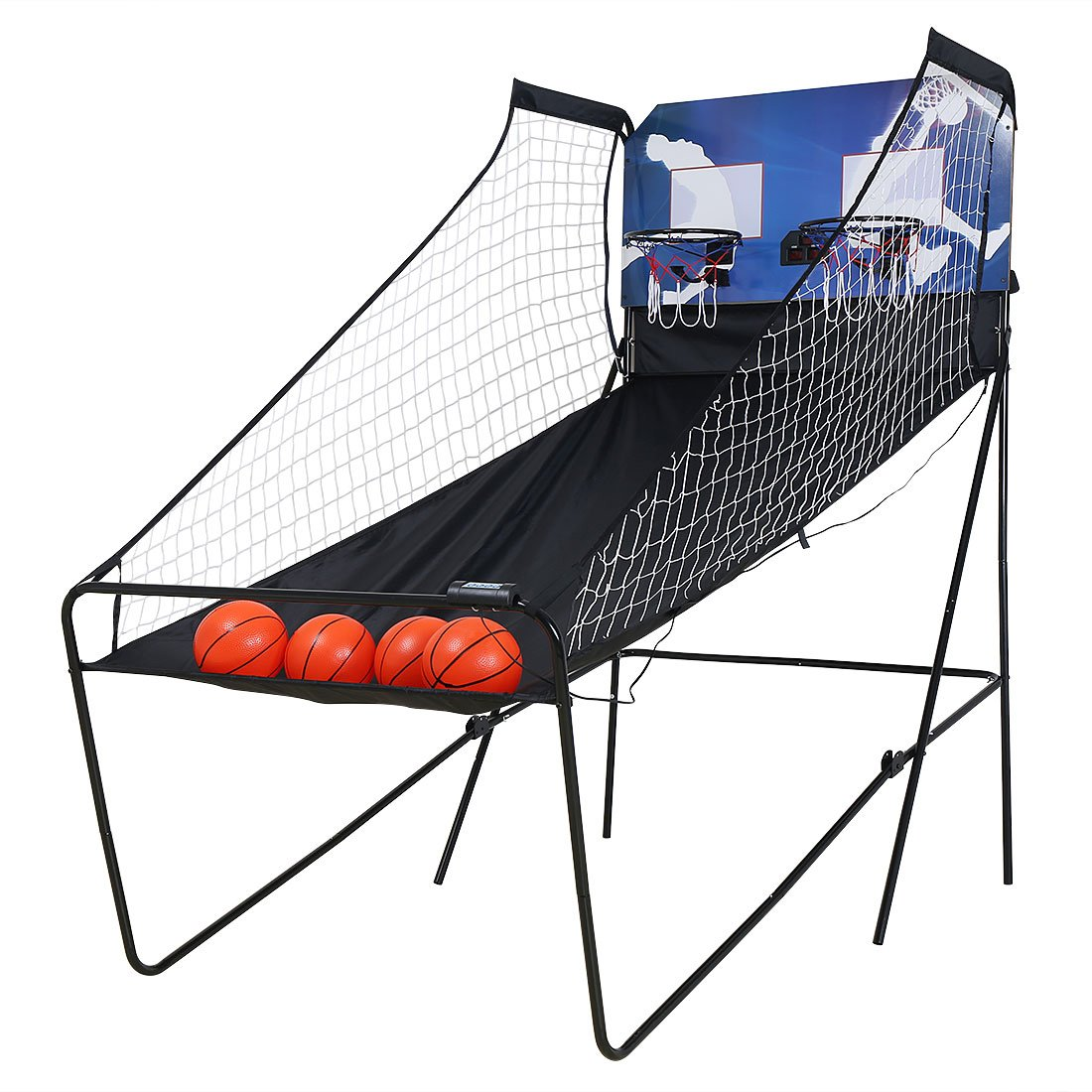 Foldable Double Arcade Electronic Basketball Game Double Electronic Hoops Shot For 2 Players with LED Scoring System