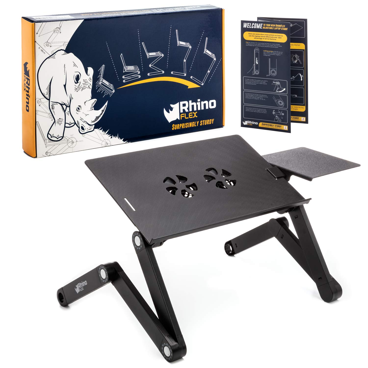 Adjustable Laptop Stand - Use It as a Foldable Standing Desk at The Office, Portable Computer Holder for Writing, Cozy Desk in Bed or on The Sofa - Laptop Table with Cooling Fans - Great as a Gift by RhinoFlex