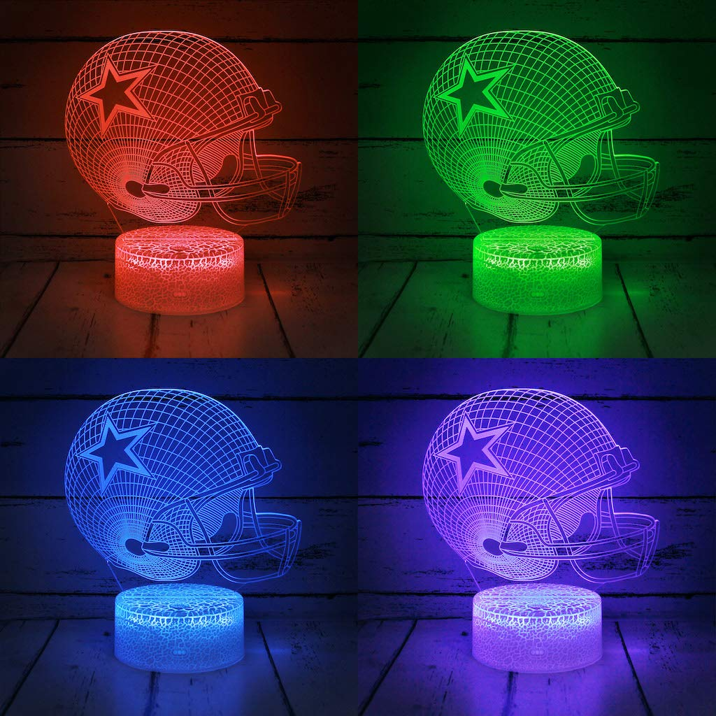 Boys Girls Sports Fan Nightlight Gift for Kids Men or Women Bigfoot 3D LED Night Light Football Helmet Dallas Cowboys Flat Acrylic Illusion Lighting Lamp with 7 Colors and Touch Sensor