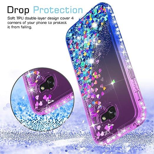 LeYi Funda Samsung Galaxy A5 2017 Silicona Purpurina Carcasa con [2-Unidades Cristal Vidrio Templado],Transparente Cristal Bumper Telefono Fundas Case Cover ...