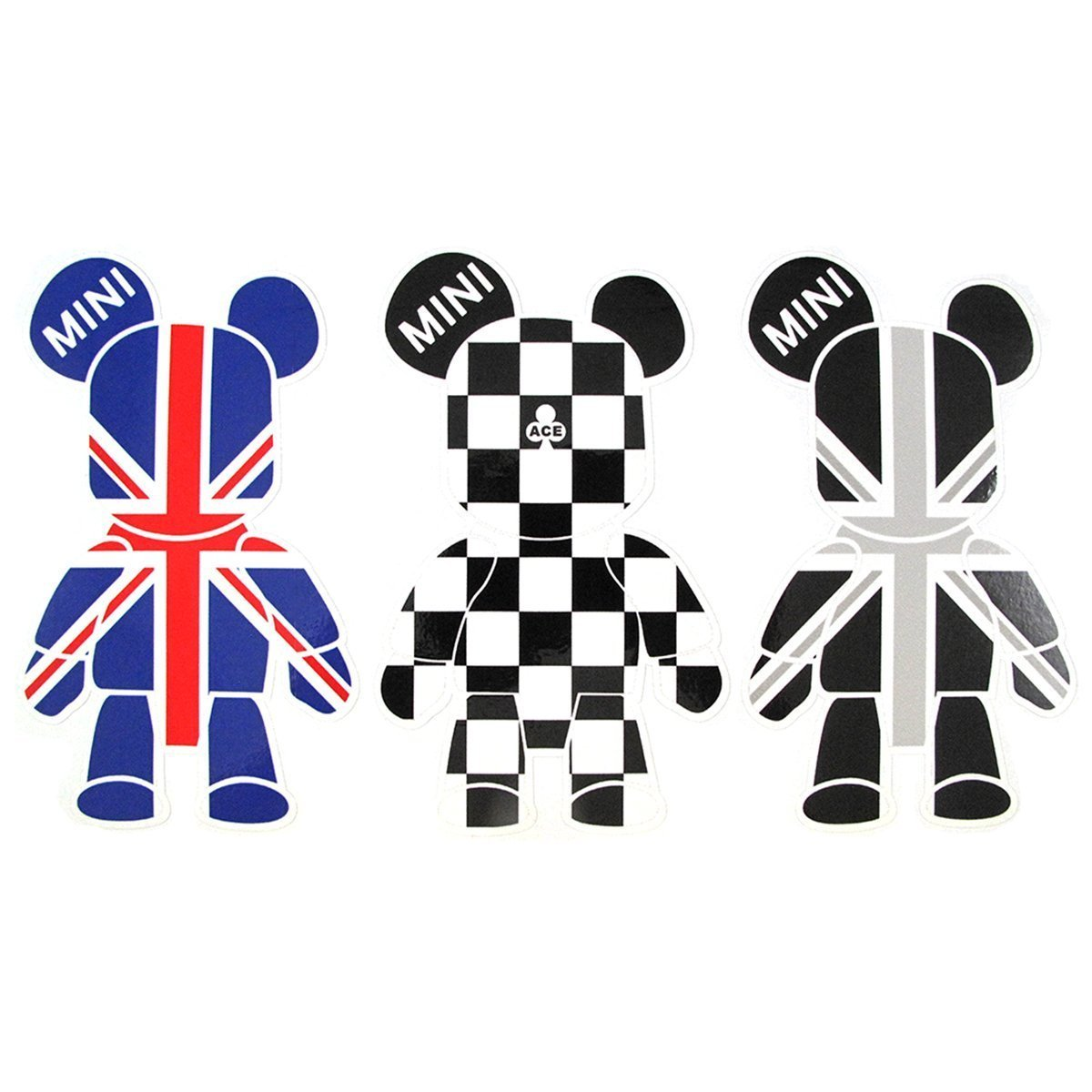 3 Pcs Mini Cooper Cute Cool Bears Exclusive Car Window Reflective Decals Stickers Checkered Union Jack UK Flag Sporty Style For Car Truck Window Trunk Door or Laptop refrigerator etc Xotic Tech Direct