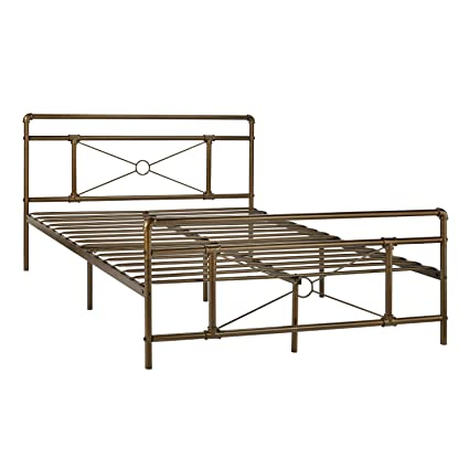 GreenForest Metal Bed Frame Bronze Full Size Platform Beds Base Mattress Foundation with Headboard and Footboard