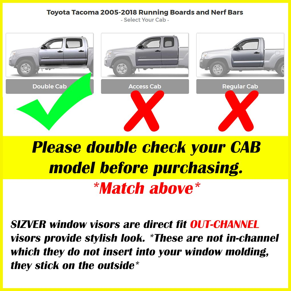 Sizver Smoked Window Visors//Wind Rain Deflector Rain Guard For 2005-2015 Toyota Tacoma Double Cab Only