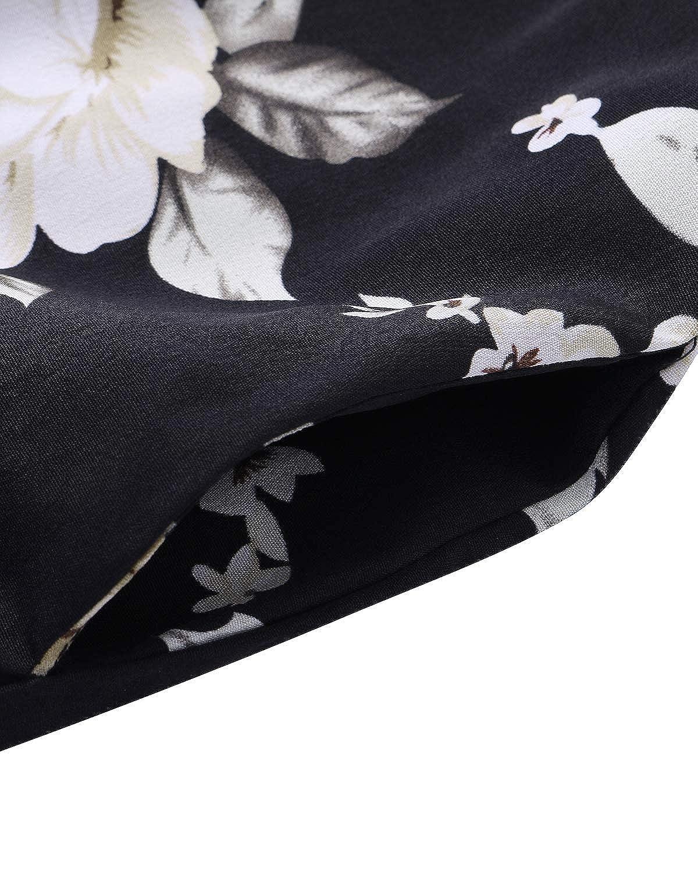 SUNNYME Femme Robe /Épaules D/énud/ées Mini Robe Et/é Tunique Florale Noir Robe Casual Chemise Robe D/écontract/ée