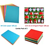 Lakeer Combo Pack A4 Neon Color Paper 100 Sheets + 15 cm X 15 cm Origami Paper 100 Sheets Combo Pack of 2 for Scrapbooking, Craft Project