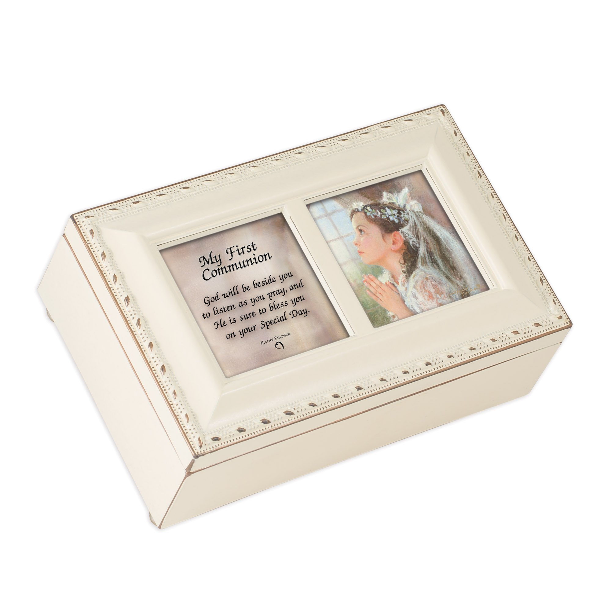 Cottage Garden First Communion Girl Petite Ivory Rosary Music Box Plays Tune Ave Maria