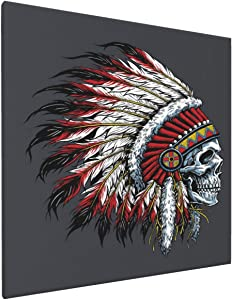 Motorcycle Indian Skull Canvas Prints Wall Art Paintings Durable Bedroom Wall Decor Creative Poster Picture Artwork Fits for Office Bathroom Home Decoration 15.7x15.7in