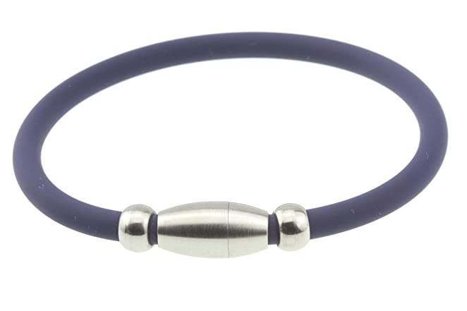Navy Blue Silicone Rubber Bracelet Titanium Anionic Anti Fatigue Therapy Magnetic Clasp Small Unisex Size for Women Boy Girl Men