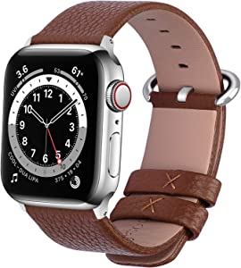 Fullmosa Compatible Apple Watch Band 38mm 40mm 42mm 44mm Calf Leather Compatible iWatch Band/Strap Compatible Apple Watch SE & Series 6/5/4/3/2/1, 38mm 40mm Brown